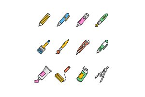 Pen Icon Set. Vector