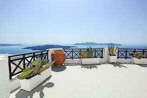 Patio overlooking Aegean SeaPatio overlooking Aegean Sea, Fira Town, Santorini Island, Greece