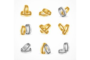 Rings Set Made of Silver and Gold