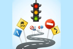 Concept of Road with Traffic Lights.