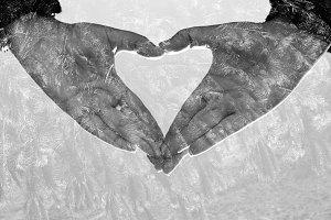 Hands forming a heart and fir
