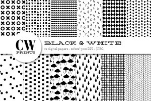 Black and White Digital Paper Pack