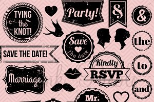 Vintage Wedding Stamp Clipart/Vector