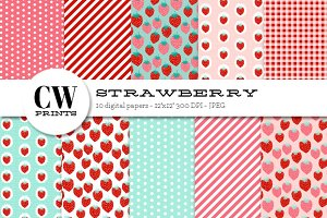 Strawberries Digital Paper Pack