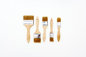 Set of five new brushes