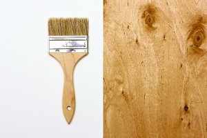 Renovation brush with white paper