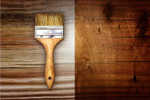 Brush on wooden background