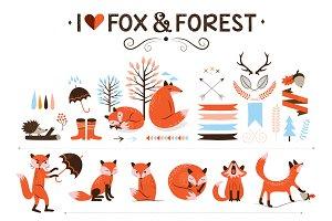 Hipster fox clip art
