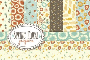 Spring Floral Patterns - Vector