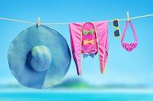 Beach outfit. Summer set, sea ocean