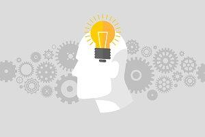 Man with an idea with a lightbulb