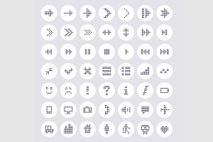 Dotted icon and arrows collection