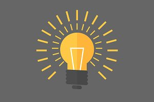 Vector flat design lightbulb
