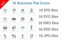 16 Business Flat Icons Set vol.2