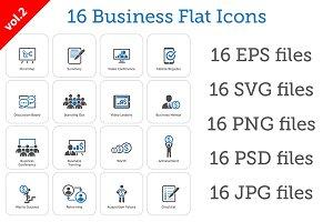 16 Business Flat Icons Set vol.2