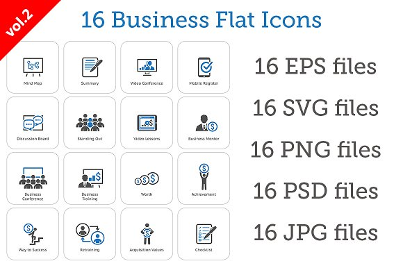 16 Business Flat Icons Set vol.2 - Icons