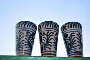 glazed ceramic vessels and sky