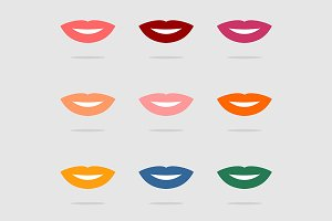Vector color lips icon set