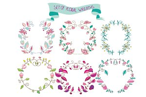 set of beautiful floral wreaths