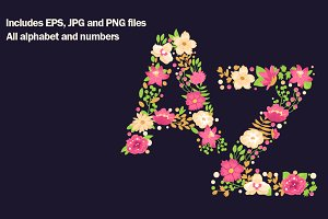 Floral alphabet and numbers