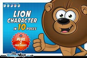Lion Cartoon - In 12 Poses - 2 FREE!
