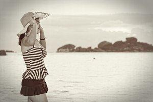 Vintage girl on the beach