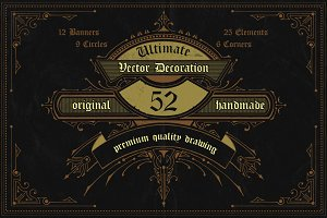 52Handdrawn Vector Banner Decoration
