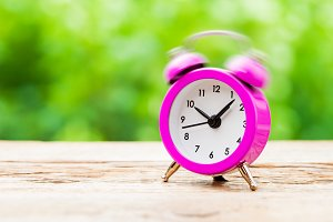 Ringing pink Alarm clock