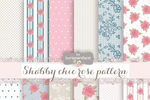 shabby chic blue pink digital paper