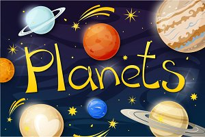Set of solar system planets