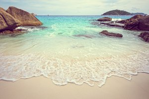 Vintage style beach and sea