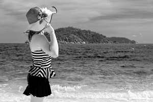 Black and white woman on beach