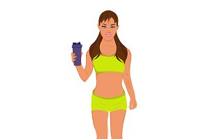fitness woman with protein shake