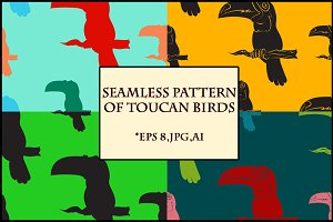 Seamless pattern of toucan birds