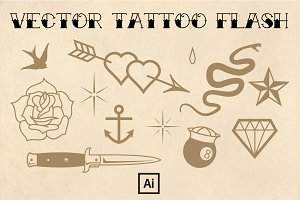 Vintage Tattoo Flash Set (vector)