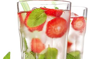 Strawberry mojito summer cocktail drink