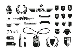 Military theme icons set