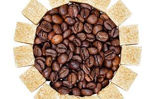 Coffee beans and sugar
