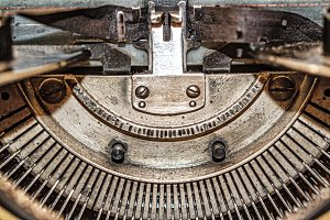 Retro vintage typewriter closeup