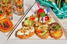 Restaurant food. Snacks, sandwiches