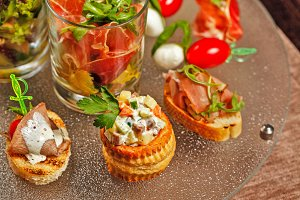 Restaurant food canapes