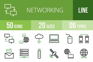 50 Networking Line Green&Black Icons