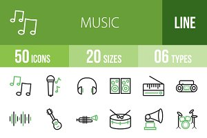 50 Music Line Green & Black Icons