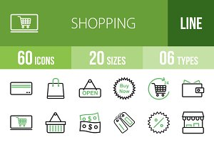60 Shopping Line Green & Black Icons