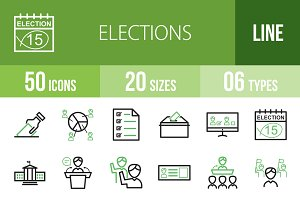 50 Elections Line Green&Black Icons