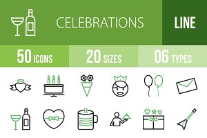 50 Celebrations Green & Black Icons