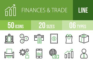 50 Finances&Trade Green&Black Icons