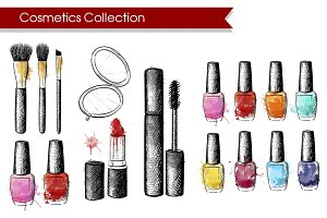 Cosmetics collection hand draw.