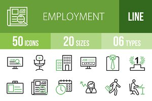 50 Employment Line Green&Black Icons