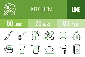 50 Kitchen Line Green & Black Icons